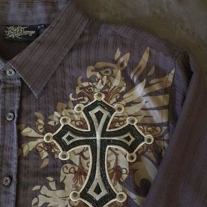 Long Sleeve Button Down Shirt with Crosses